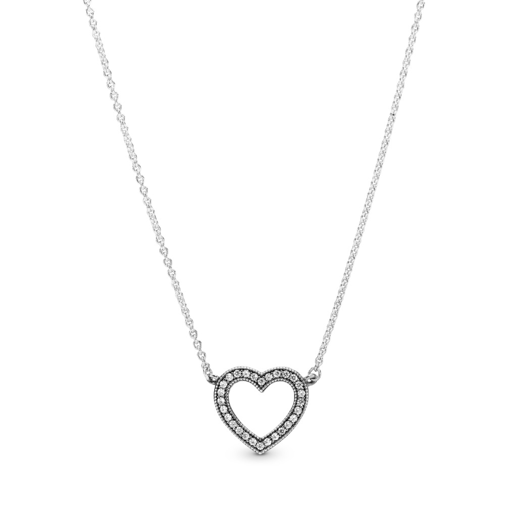 Loving Hearts of 판도라 PANDORA Necklace, Clear CZ Sterling silver, Cubic Zirconia