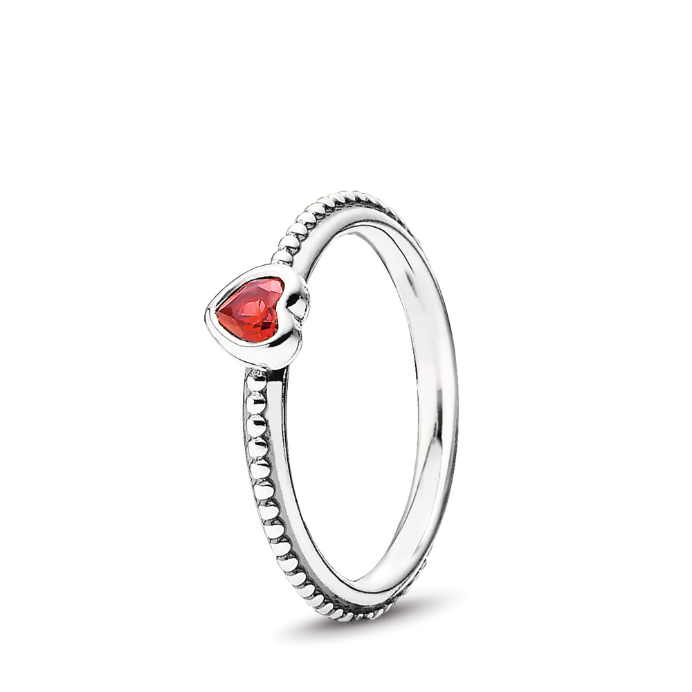 판도라 PANDORA One Love Ring, Scarlet Synthetic Ruby Sterling silver, Red, Synthetic Ruby