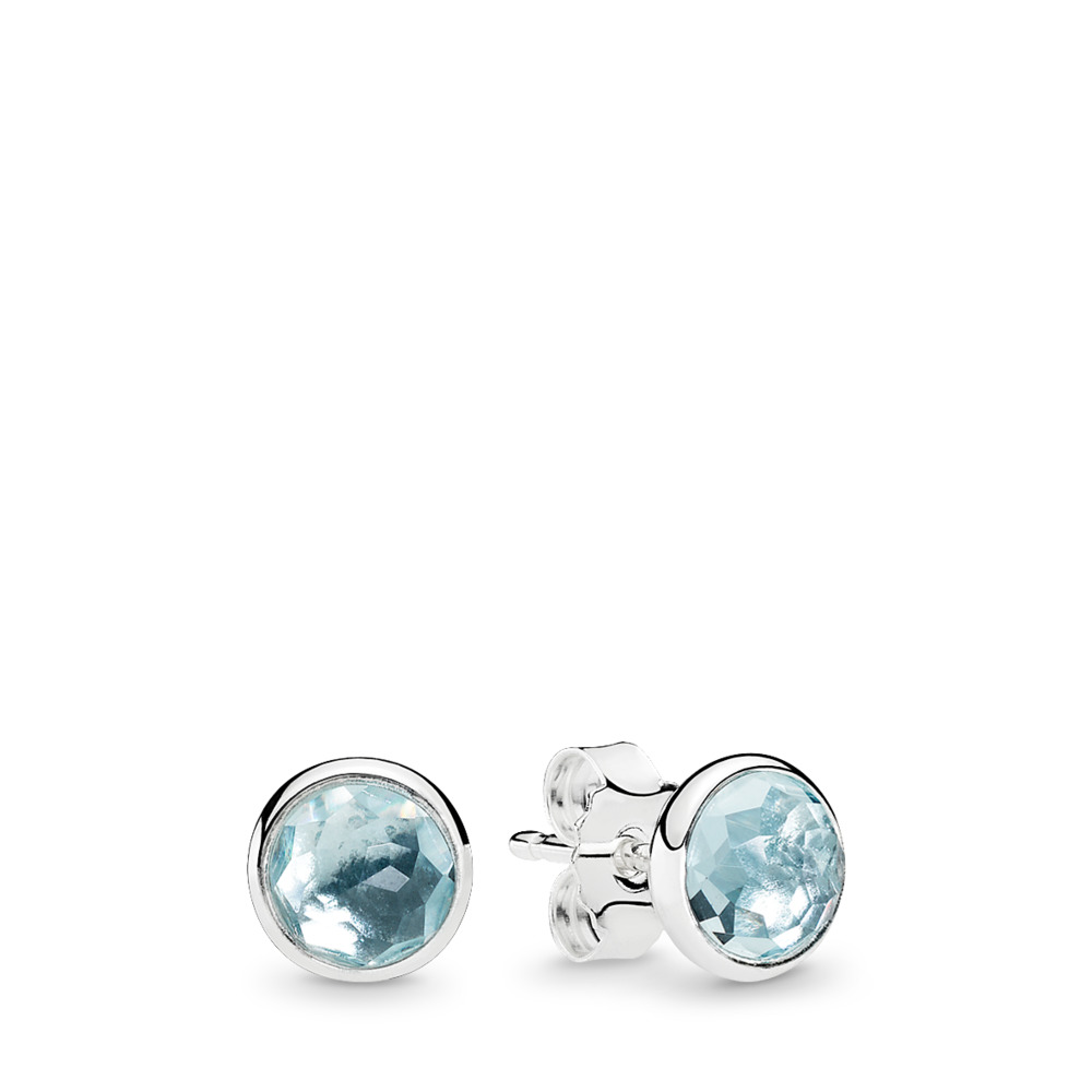 판도라 PANDORA March Droplets Stud Earrings, Aqua Blue Crystal Sterling silver, Blue, Crystal