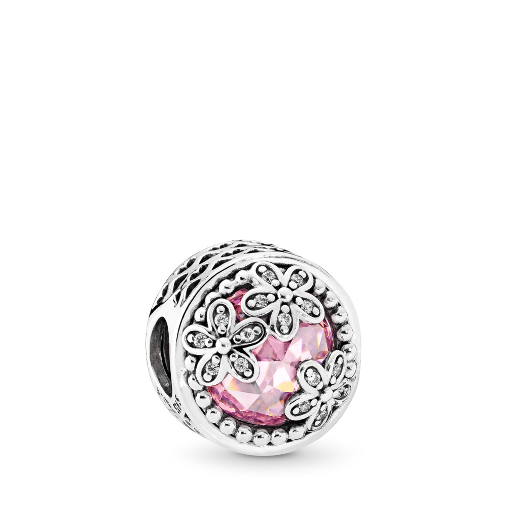 Dazzling Daisy Meadow, Pink & Clear CZ, Sterling silver, Pink, Cubic Zirconia - PANDORA - #792055PCZ