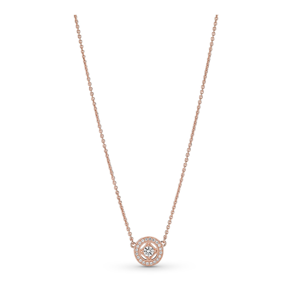 Vintage Allure Necklace, PANDORA Rose™ & Clear CZ, PANDORA Rose, Cubic Zirconia - PANDORA - #380523CZ
