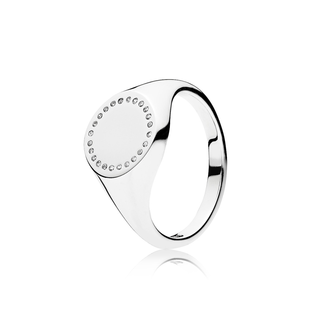 Circle Signet Ring, Clear CZ, Sterling silver, Cubic Zirconia - PANDORA - #191041CZ