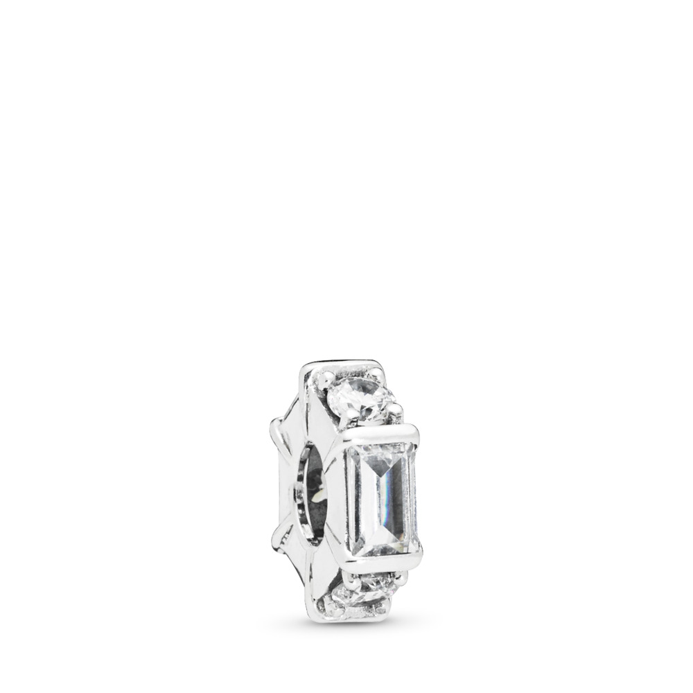 Ice Sculpture Spacer, Clear CZ, Sterling silver, Cubic Zirconia - PANDORA - #797529CZ