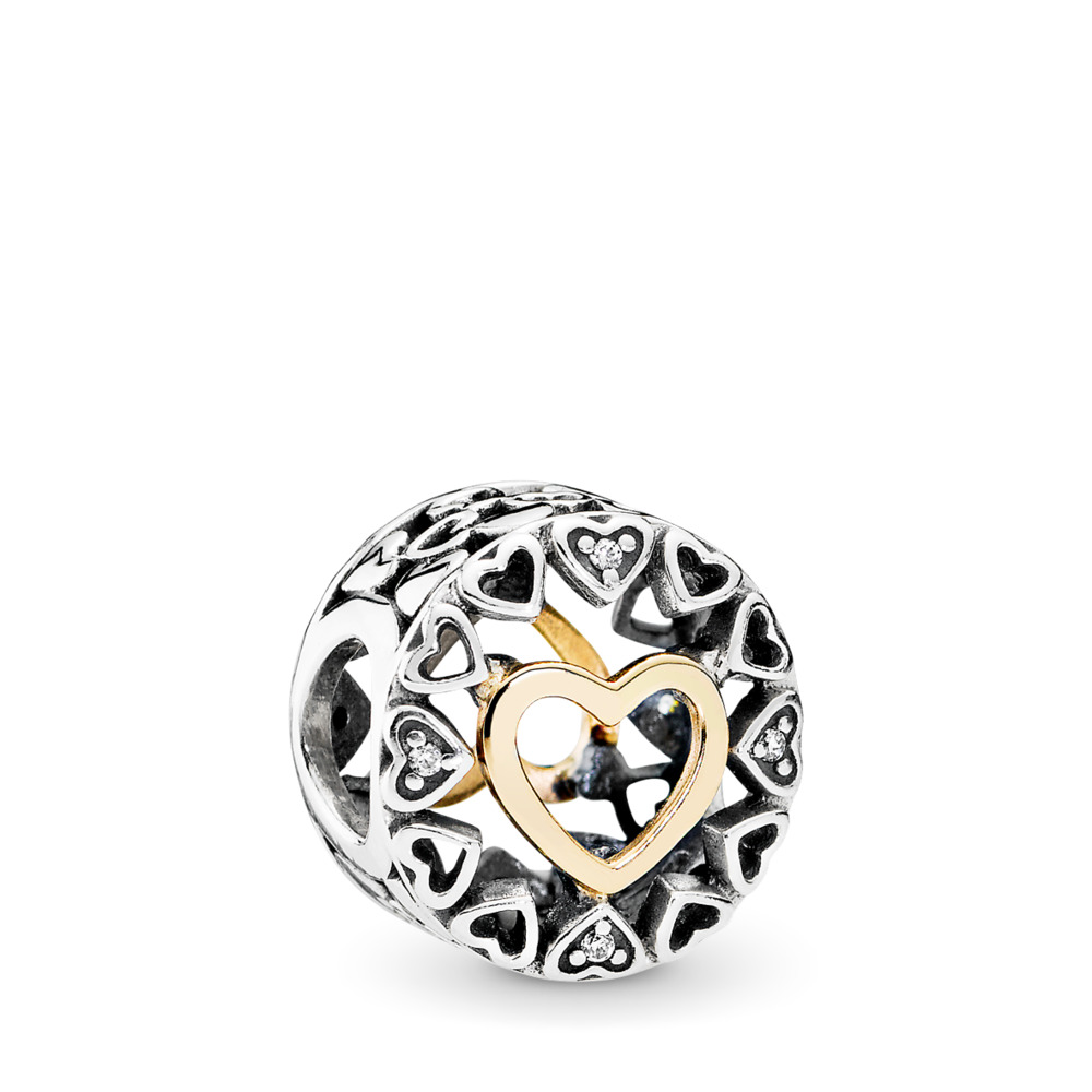Loving Circle Charm, Clear CZ, Two Tone, Cubic Zirconia - PANDORA - #792009CZ