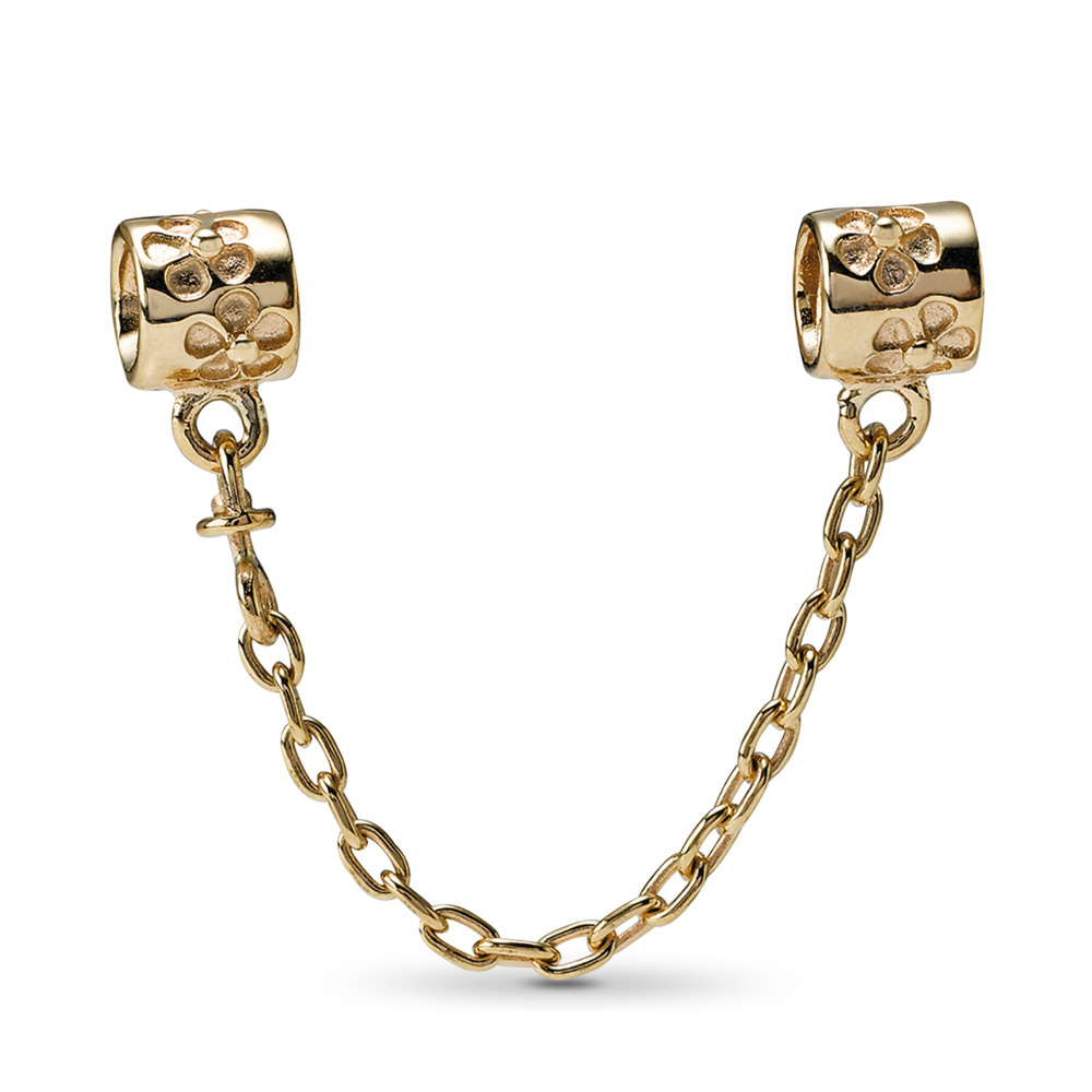 Flower Charm Safety Chain, 14K Gold, Yellow Gold 14 k - PANDORA - #750312