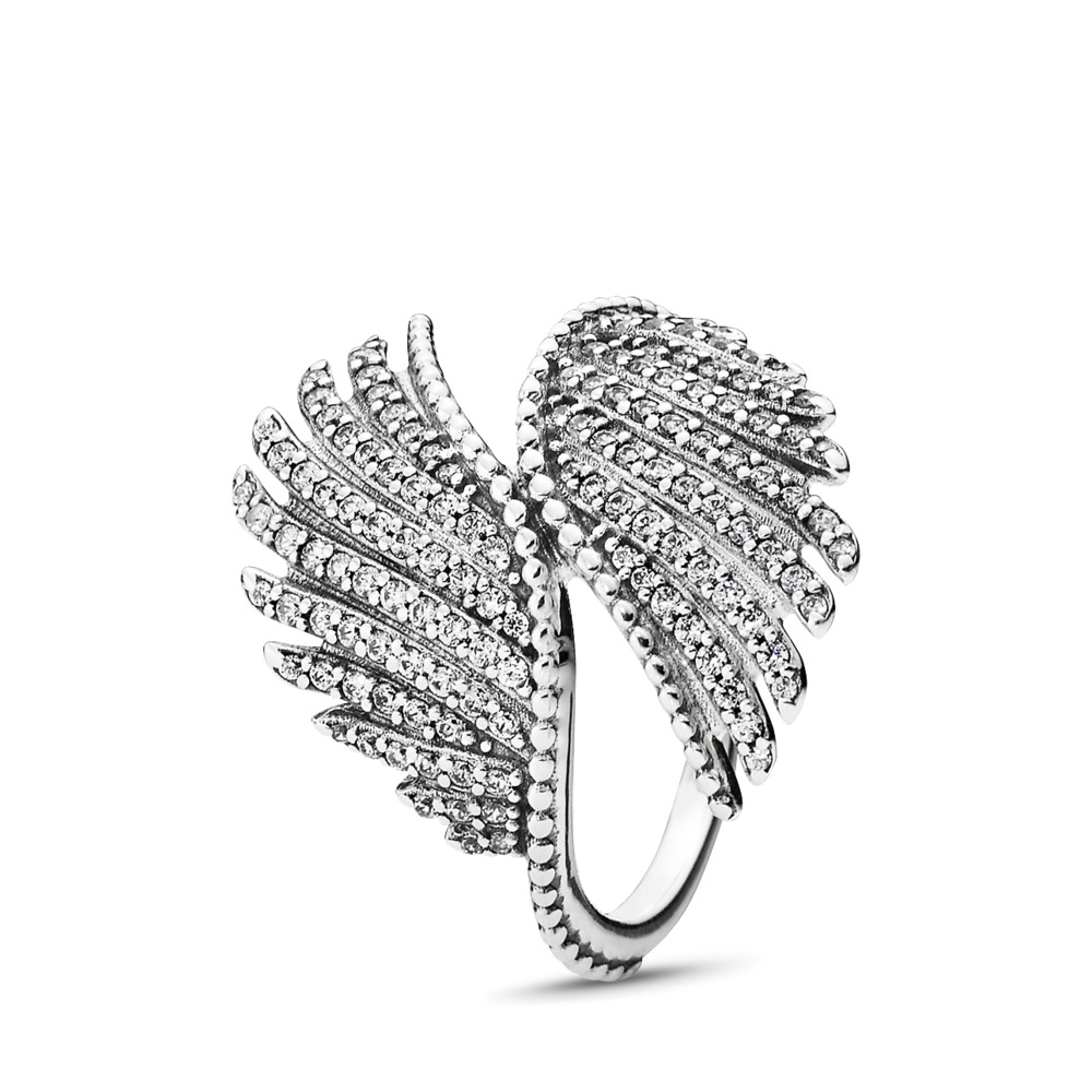 Majestic Feathers Ring, Clear CZ, Sterling silver, Cubic Zirconia - PANDORA - #190960CZ