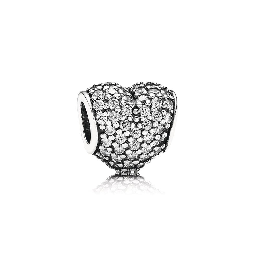 판도라 PANDORA Pave Heart Charm, Clear CZ Sterling silver, Cubic Zirconia