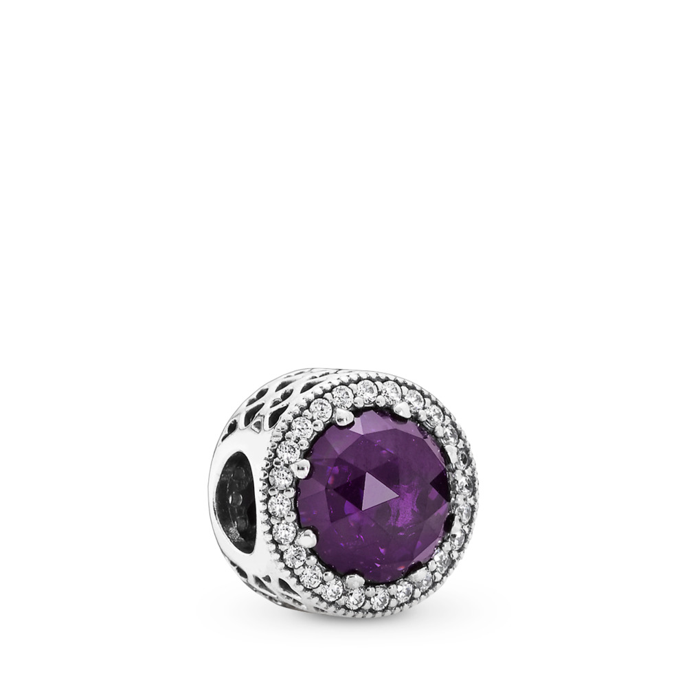 Radiant Hearts Charm, Royal-Purple Crystal & Clear CZ, Sterling silver, Purple, Mixed stones - PANDORA - #791725NRP