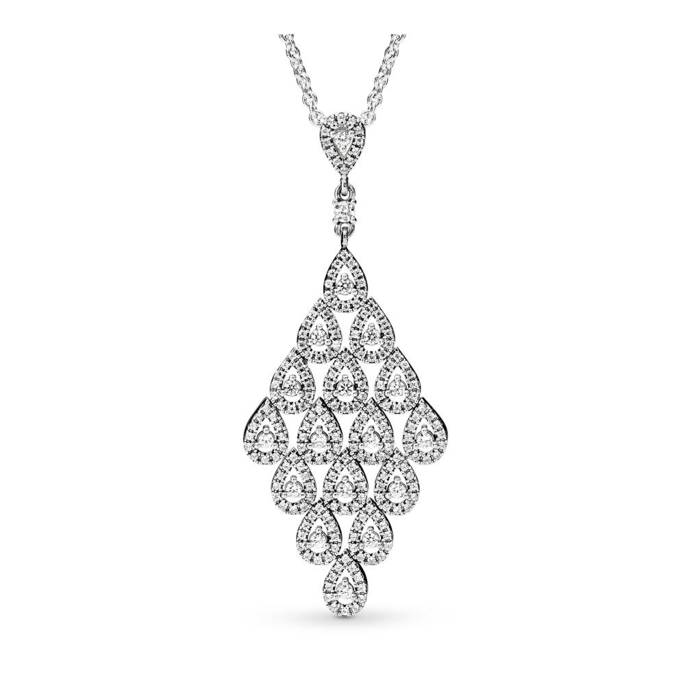 Cascading Glamour Necklace & Pendant, Clear CZ, Sterling silver, Cubic Zirconia - PANDORA - #396262CZ