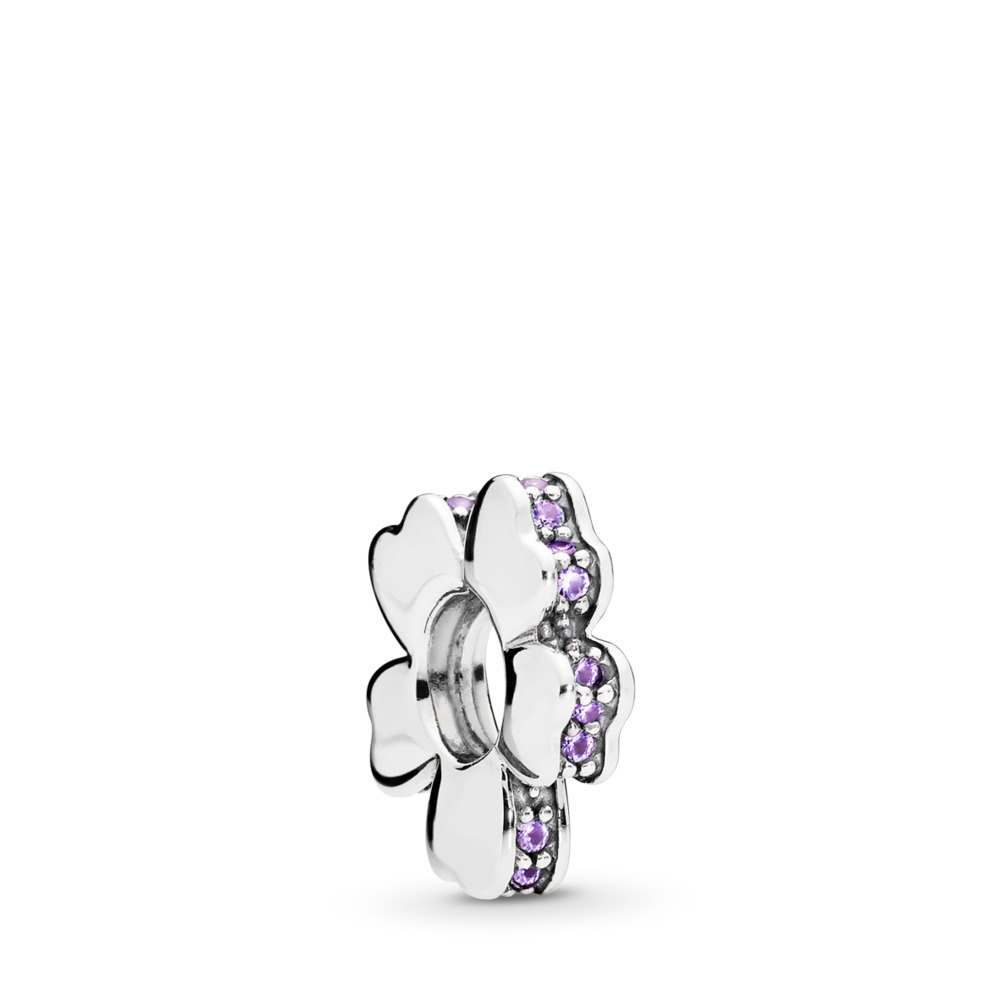 Wildflower Meadow Spacer, Lilac Crystals, Sterling silver, Purple, Crystal - PANDORA - #797042NLC