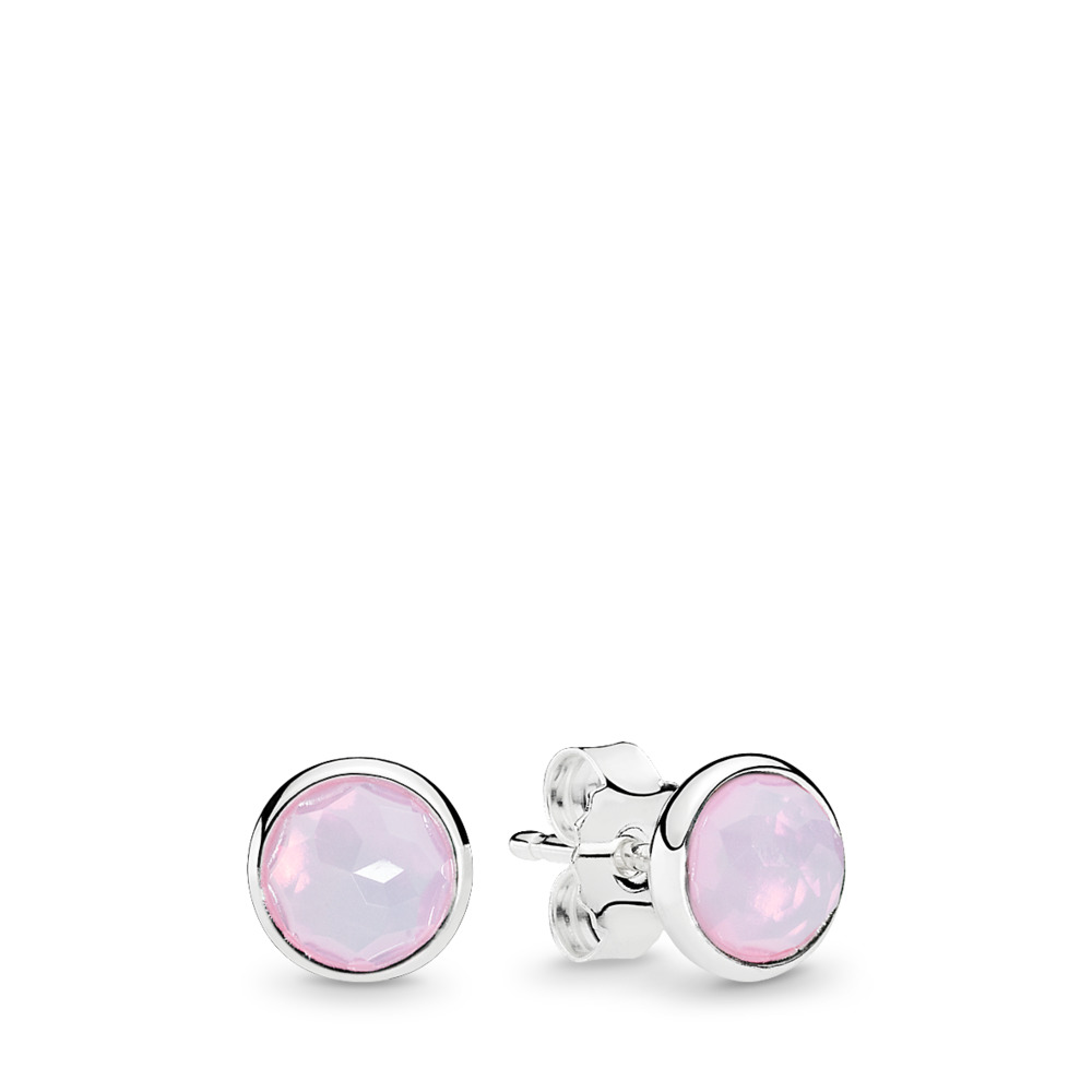 판도라 PANDORA October Droplets Stud Earrings, Opalescent Pink Crystal Sterling silver, Pink, Crystal