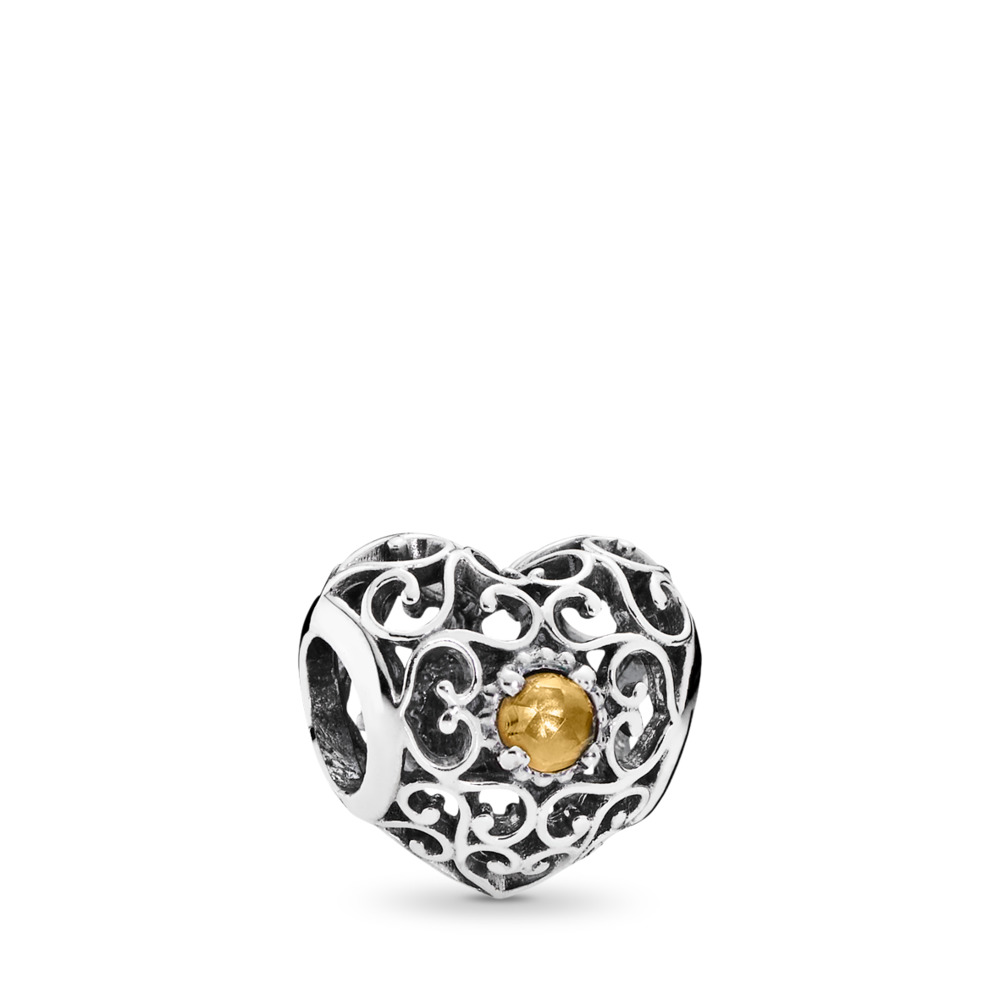 판도라 PANDORA November Signature Heart Charm, Citrine Sterling silver, Yellow, Citrine