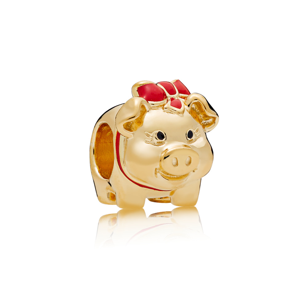 Piggy Bank Charm, PANDORA Shine™ Black & Red Enamel, 18ct Gold Plated, Enamel, Black - PANDORA - #767815ENMX
