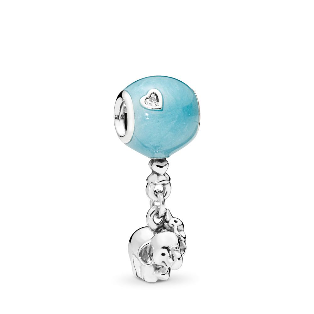 Elephant & Blue Balloon Dangle Charm, Blue Enamel & Clear CZ, Sterling silver, Enamel, Blue, Cubic Zirconia - PANDORA - #797239EN169