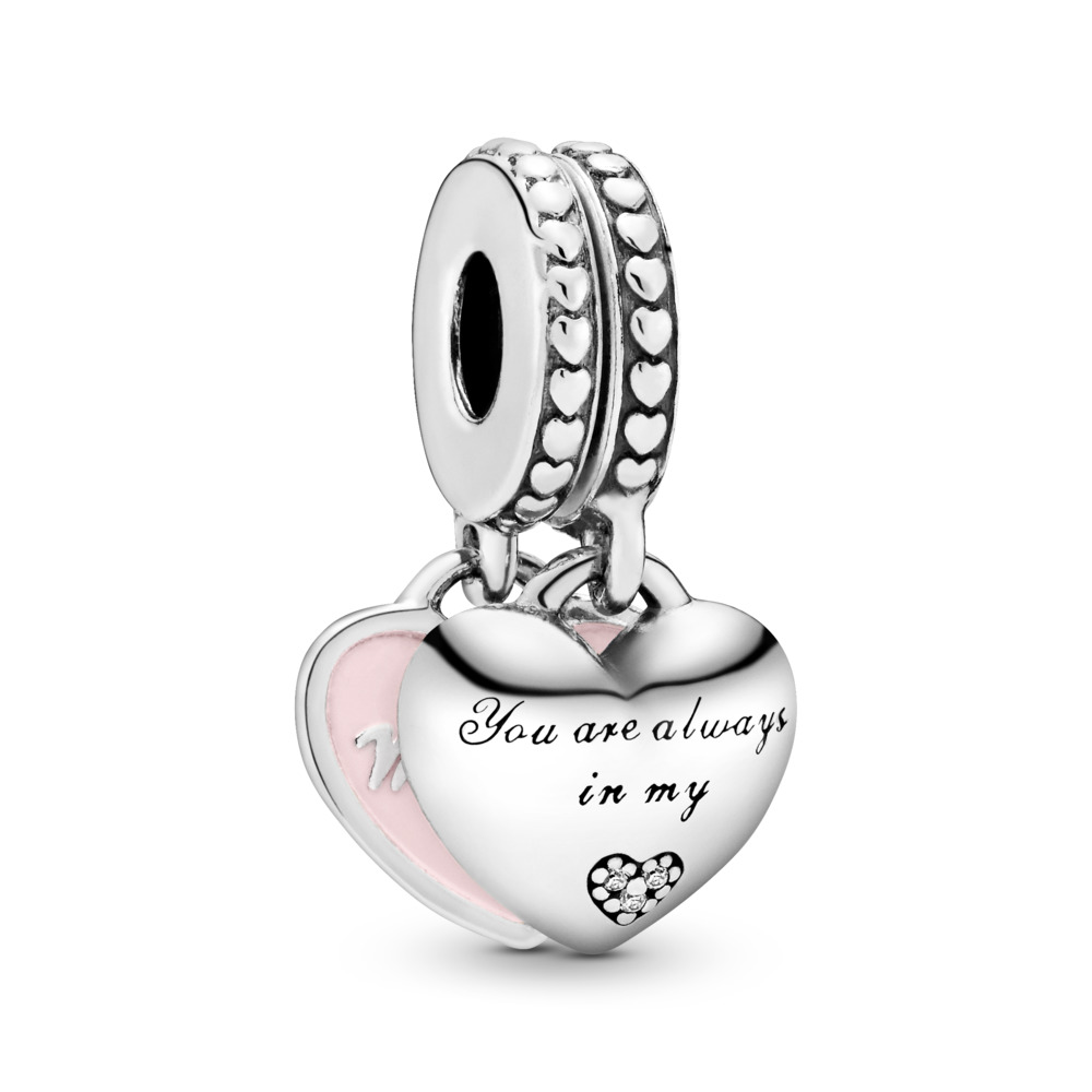 판도라 PANDORA Mother & Daughter Hearts Dangle Charm, Soft Pink Enamel & Clear CZ Sterling silver, Enamel, Pink, Cubic Zirconia