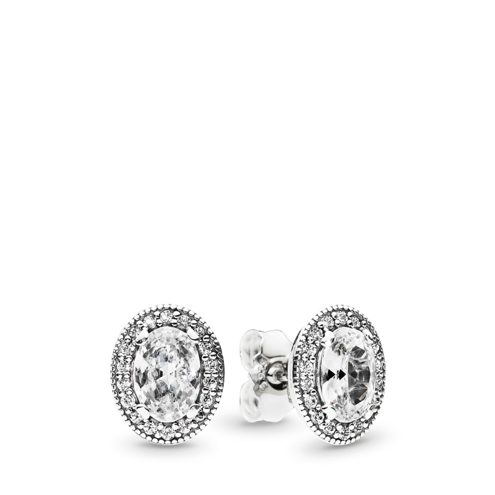 Vintage Elegance Stud Earrings, Clear CZ, Sterling silver, Cubic Zirconia - PANDORA - #296247CZ