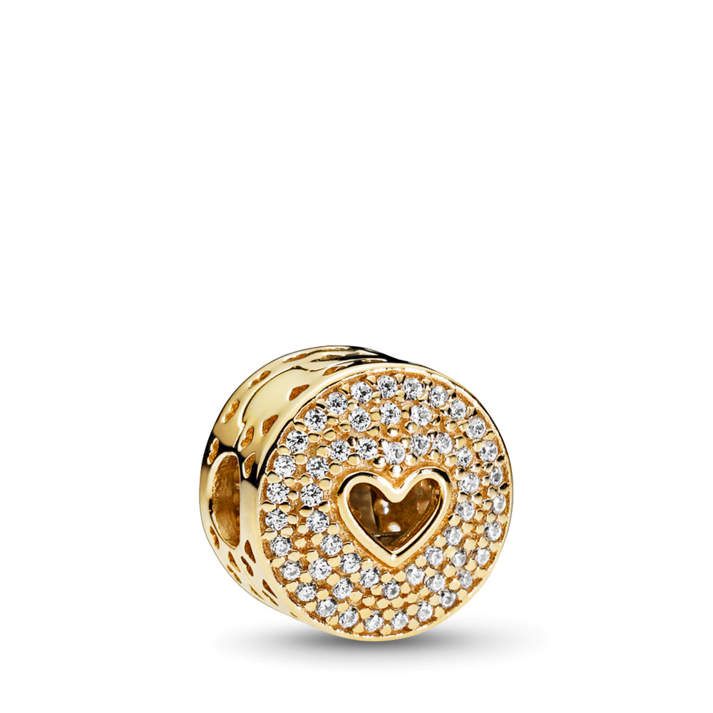 Heart of Luxury Clip, 14K Gold & Clear CZ, Yellow Gold 14 k, Cubic Zirconia - PANDORA - #757557CZ