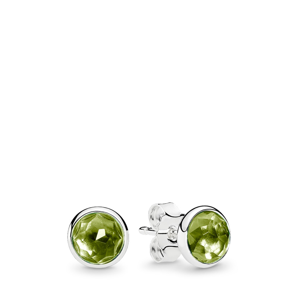 August Droplets Stud Earrings, Peridot, Sterling silver, Green, Peridot - PANDORA - #290738PE