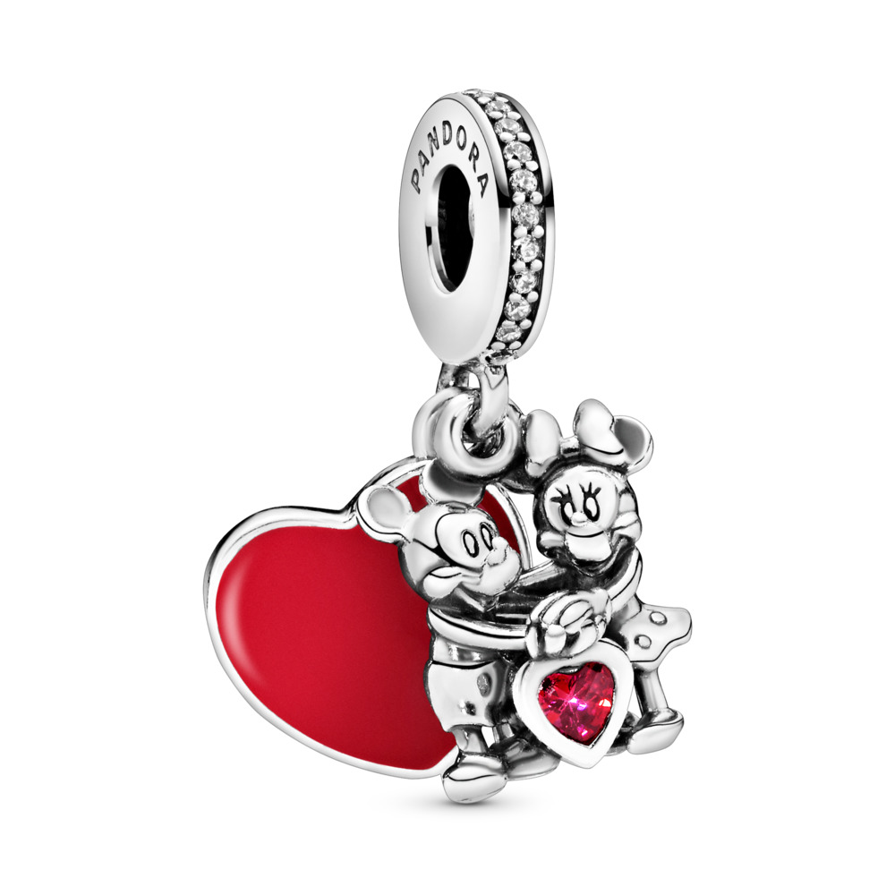 Disney, Minnie & Mickey With Love Charm, Sterling silver, Enamel, Cubic Zirconia - PANDORA - #797769CZR