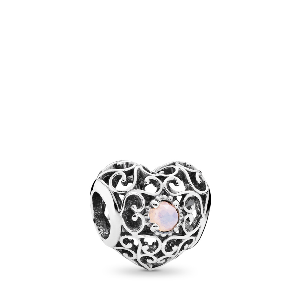 판도라 PANDORA October Signature Heart Charm, Opalescent Pink Crystal Sterling silver, Pink, Crystal