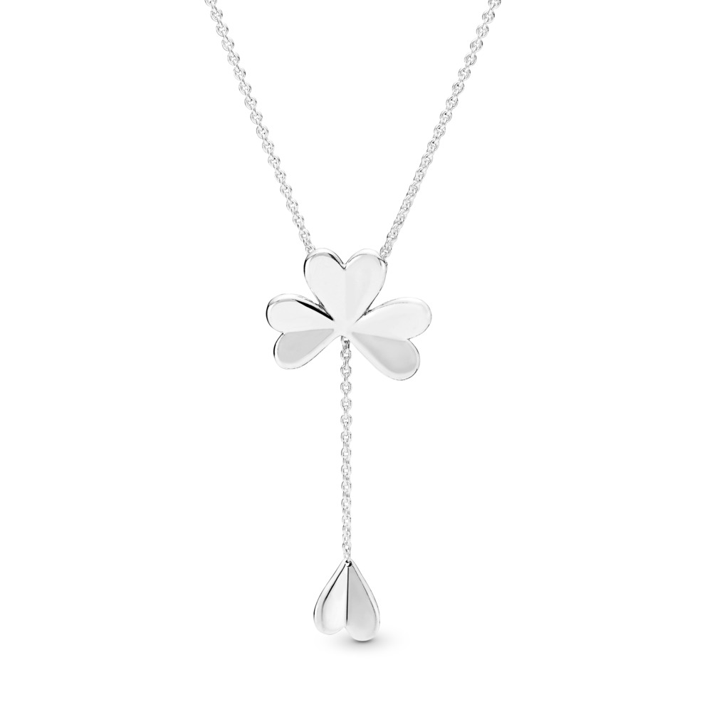 Lucky Four-Leaf Clover Necklace, Sterling silver, Silicone - PANDORA - #397925