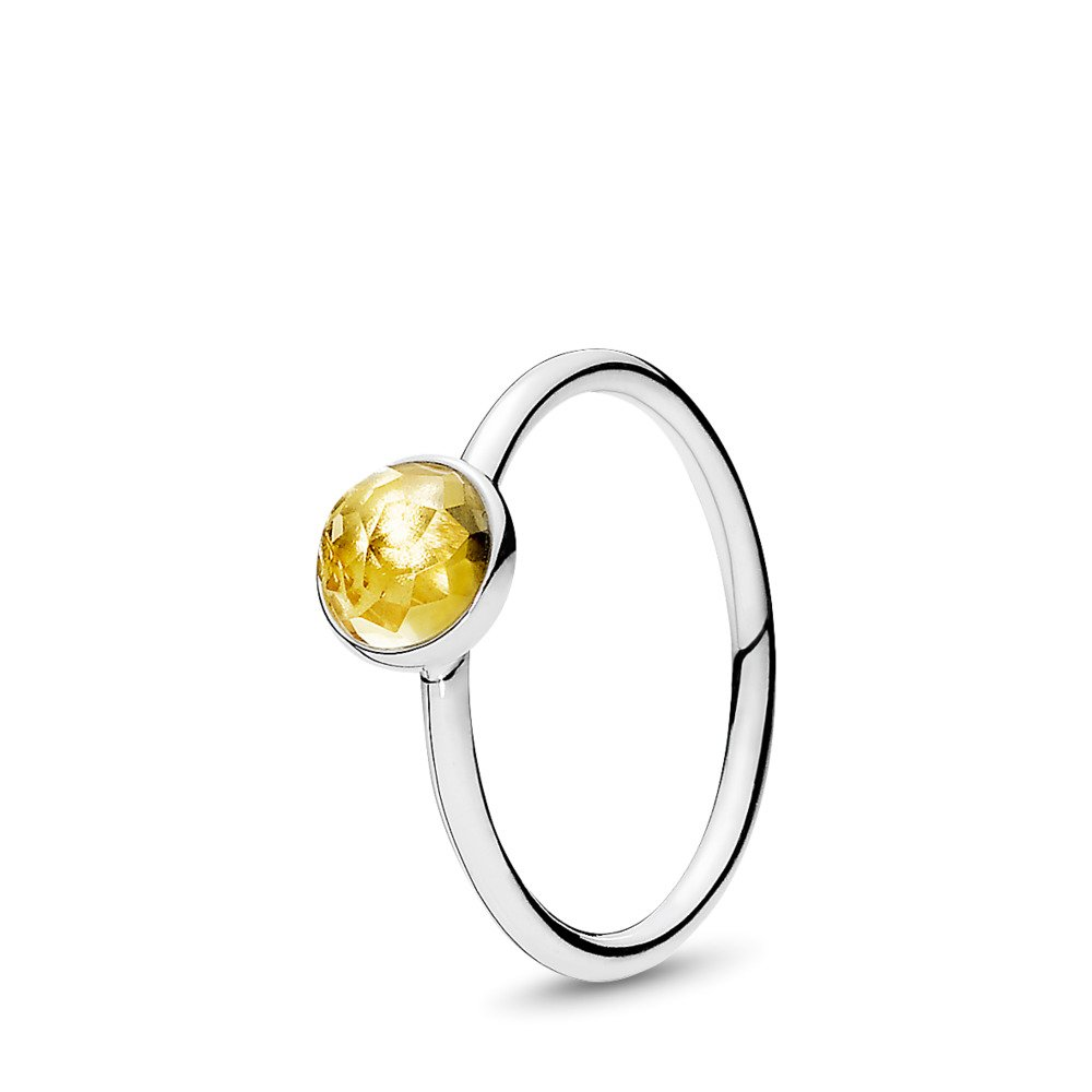 판도라 PANDORA November Droplet Ring, Citrine Sterling silver, Yellow, Citrine