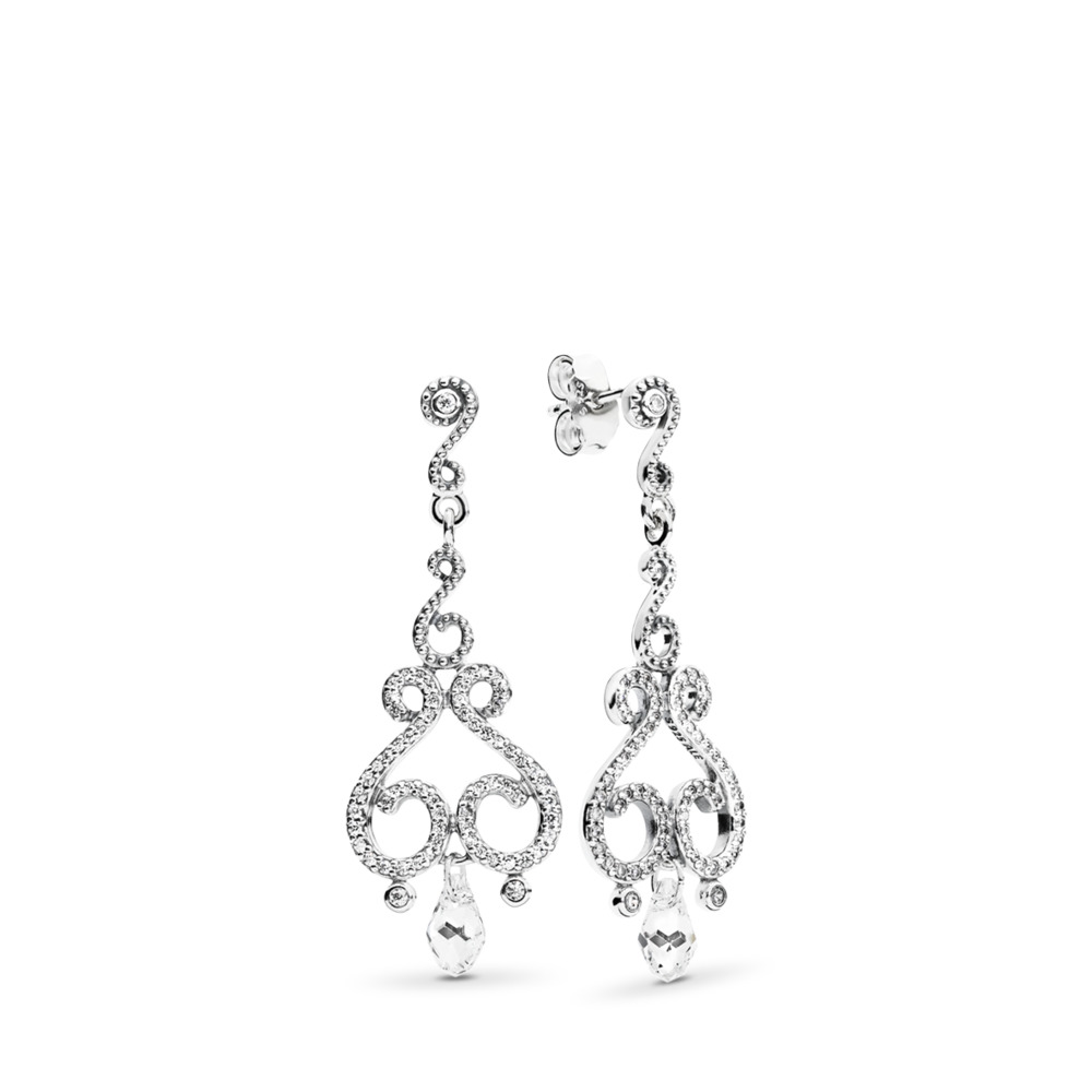Swirling Chandeliers Drop Earrings, Clear CZ, Sterling silver, Mixed stones - PANDORA - #297088CZ