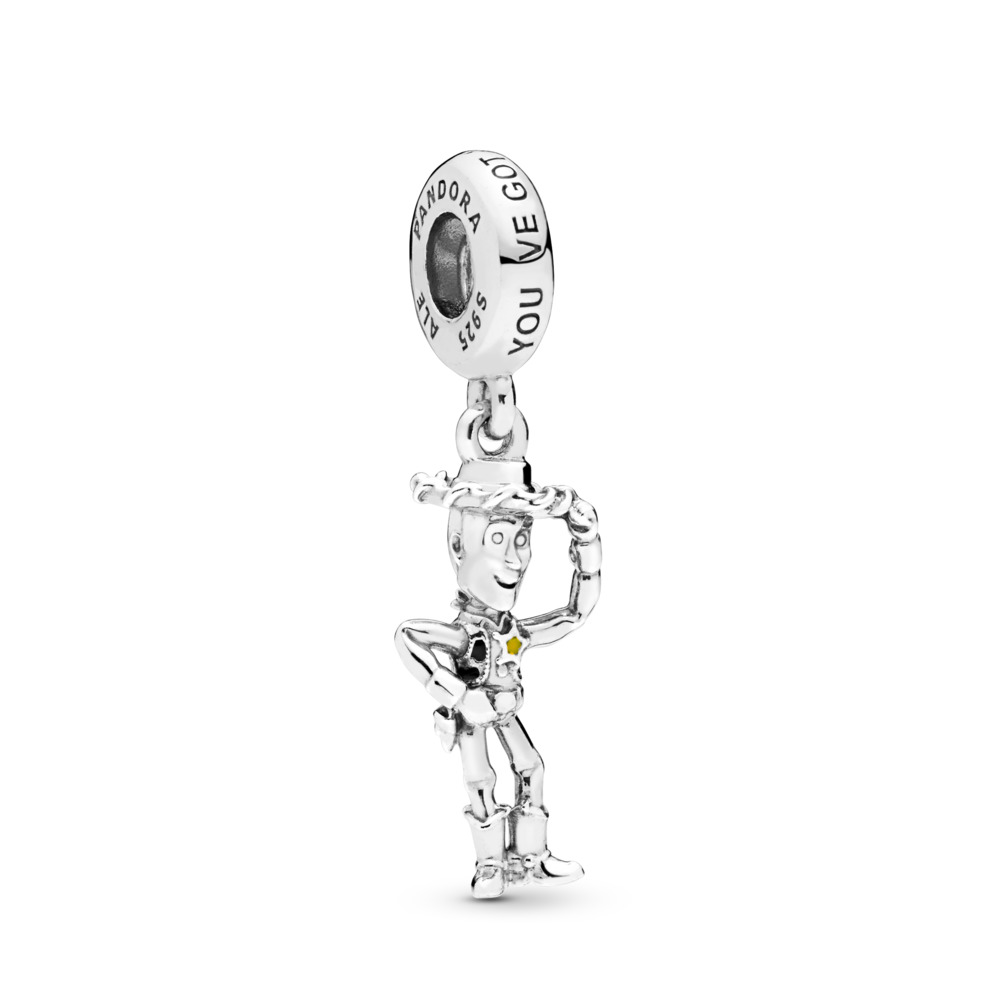 Disney Pixar, Toy Story, Woody Dangle Charm, Sterling silver, Enamel, Black - PANDORA - #798041ENMX