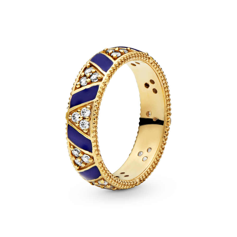 Exotic Stones & Stripes Ring, Pandora Shine™, 18ct Gold Plated, Enamel, Blue, Cubic Zirconia - PANDORA - #168057CZ