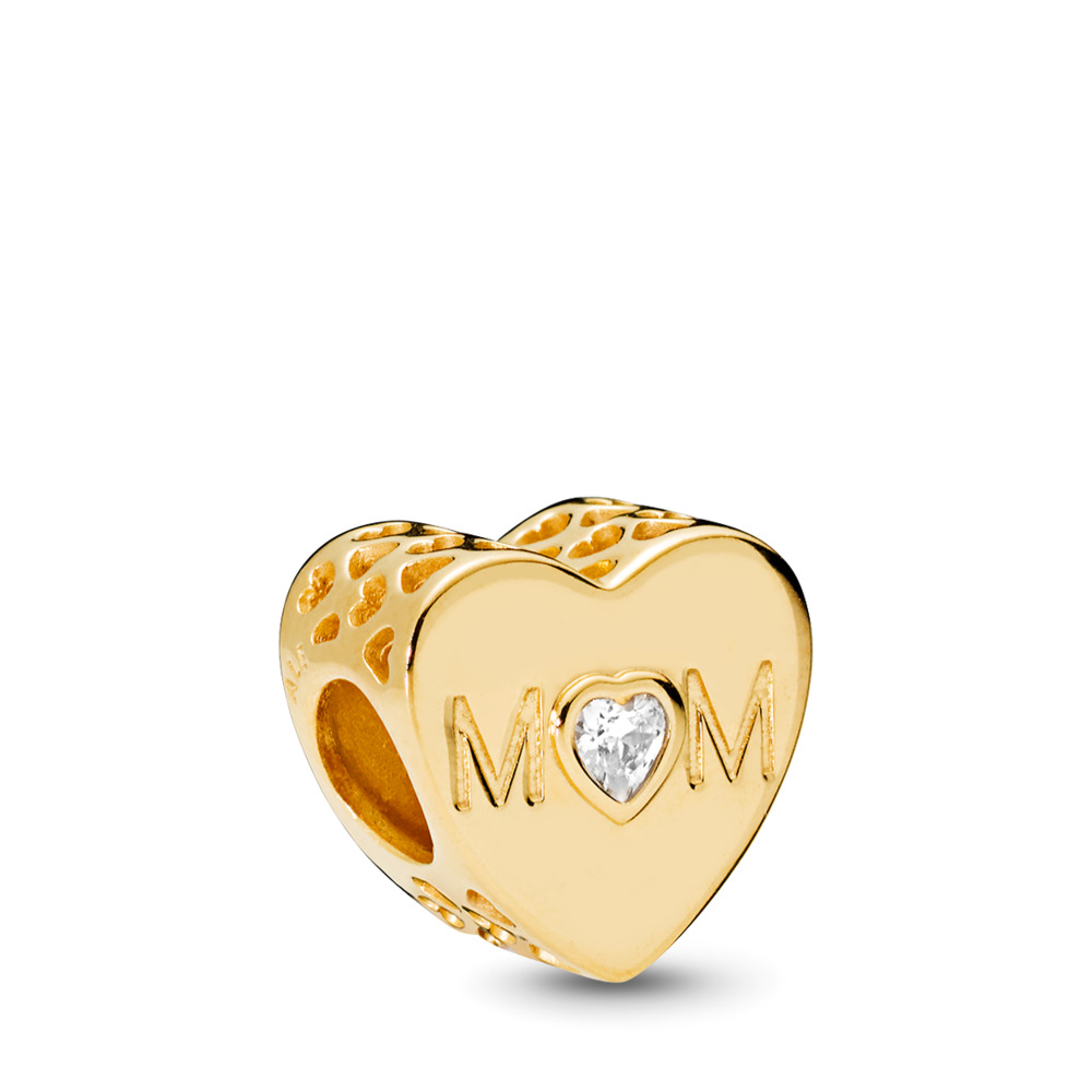 Mother Heart, PANDORA Shine™ & Clear CZ, 18ct Gold Plated, Cubic Zirconia - PANDORA - #761881CZ