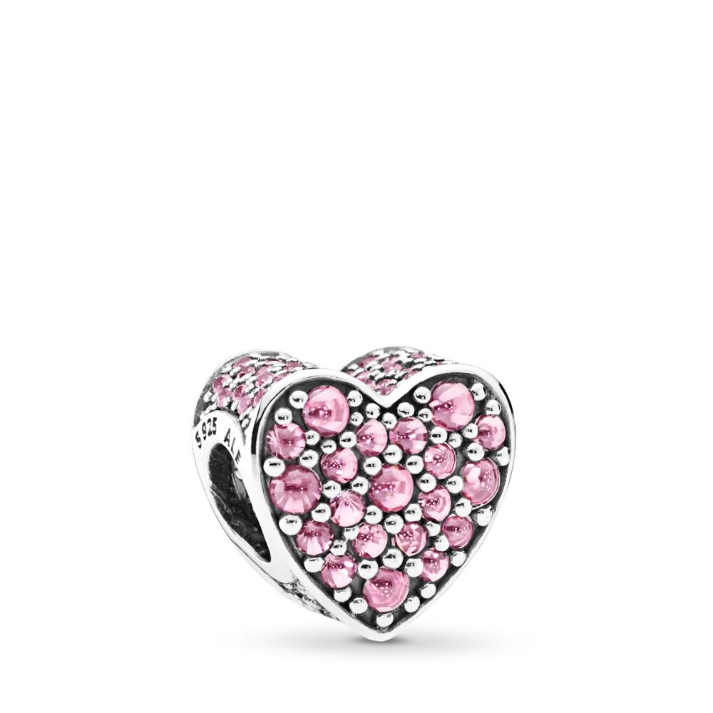 판도라 PANDORA Pink Dazzling Heart Charm, Pink CZ Sterling silver, Pink, Cubic Zirconia