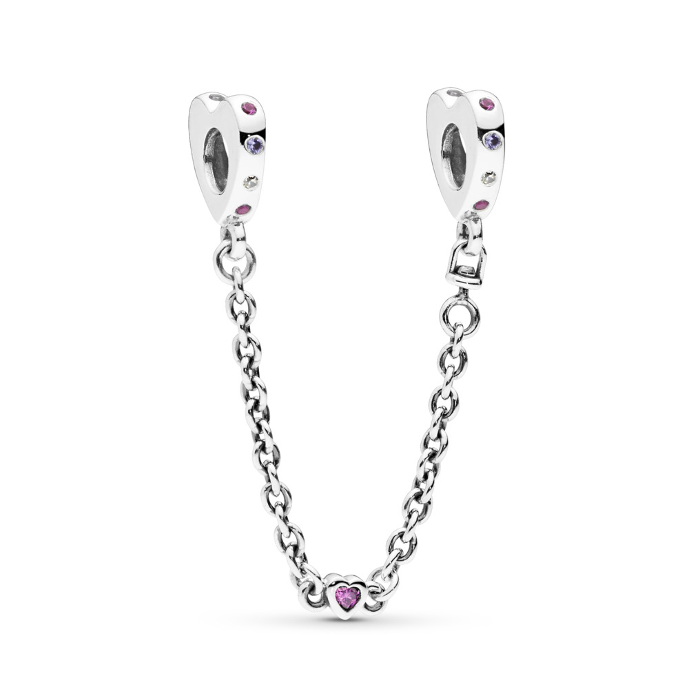 Bright Hearts Safety Chain, Pink Crystals, Sterling silver, Purple, Mixed stones - PANDORA - #797245NRPMX