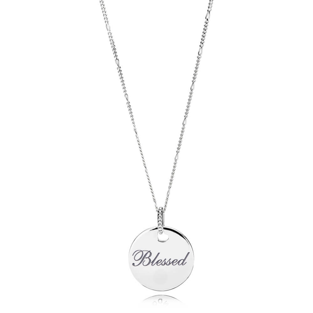 Blessed Disc Pendant and Necklace Chain, Gray Enamel, Sterling Silver, Enamel - PANDORA - #ENG397122_4-60