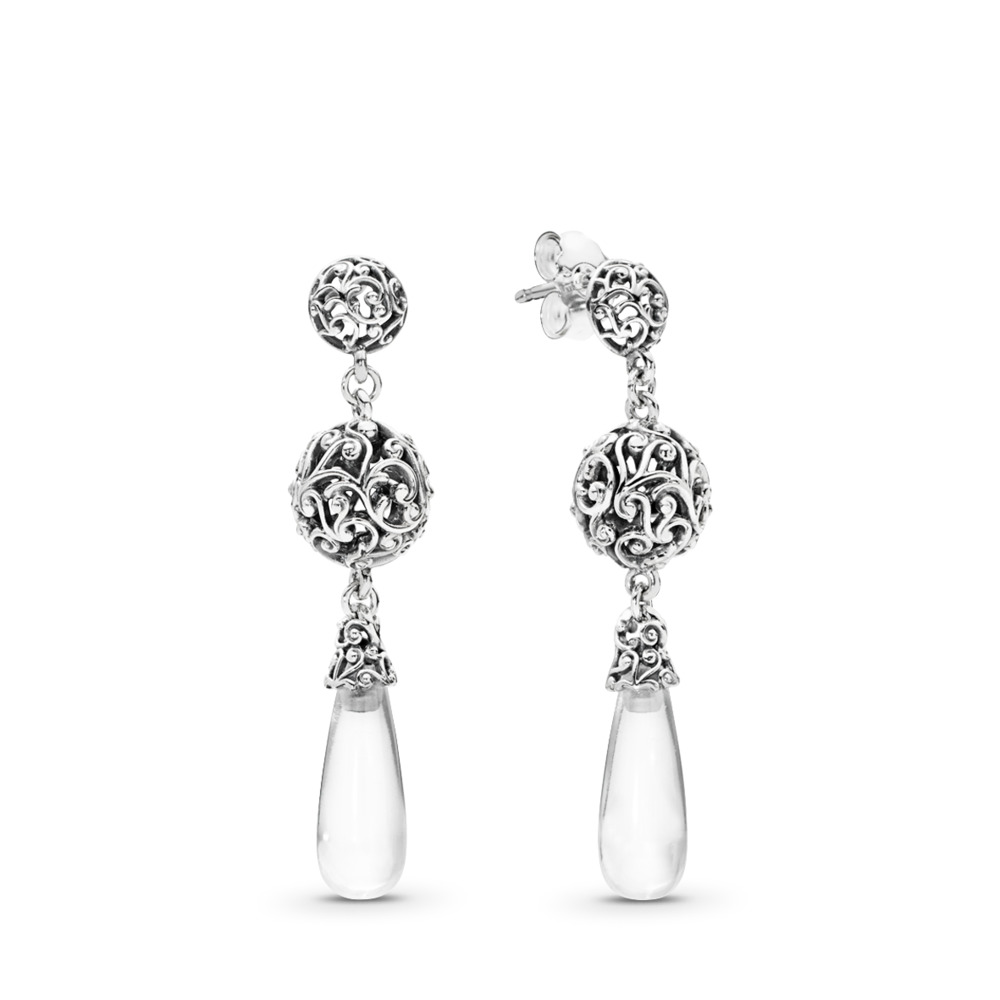 Regal Droplets Earrings, Clear CZ, Sterling silver, Cubic Zirconia - PANDORA - #297686CZ