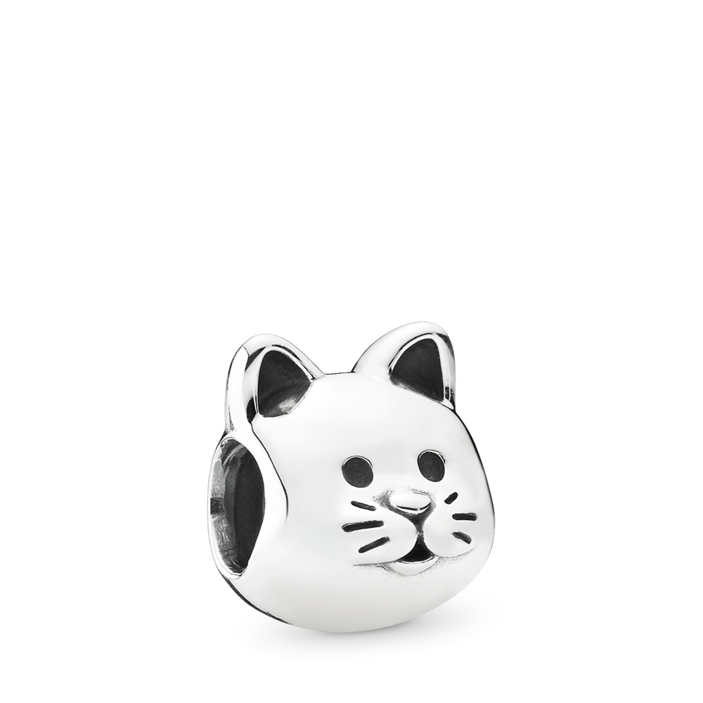 Curious Cat Charm, Sterling silver - PANDORA - #791706