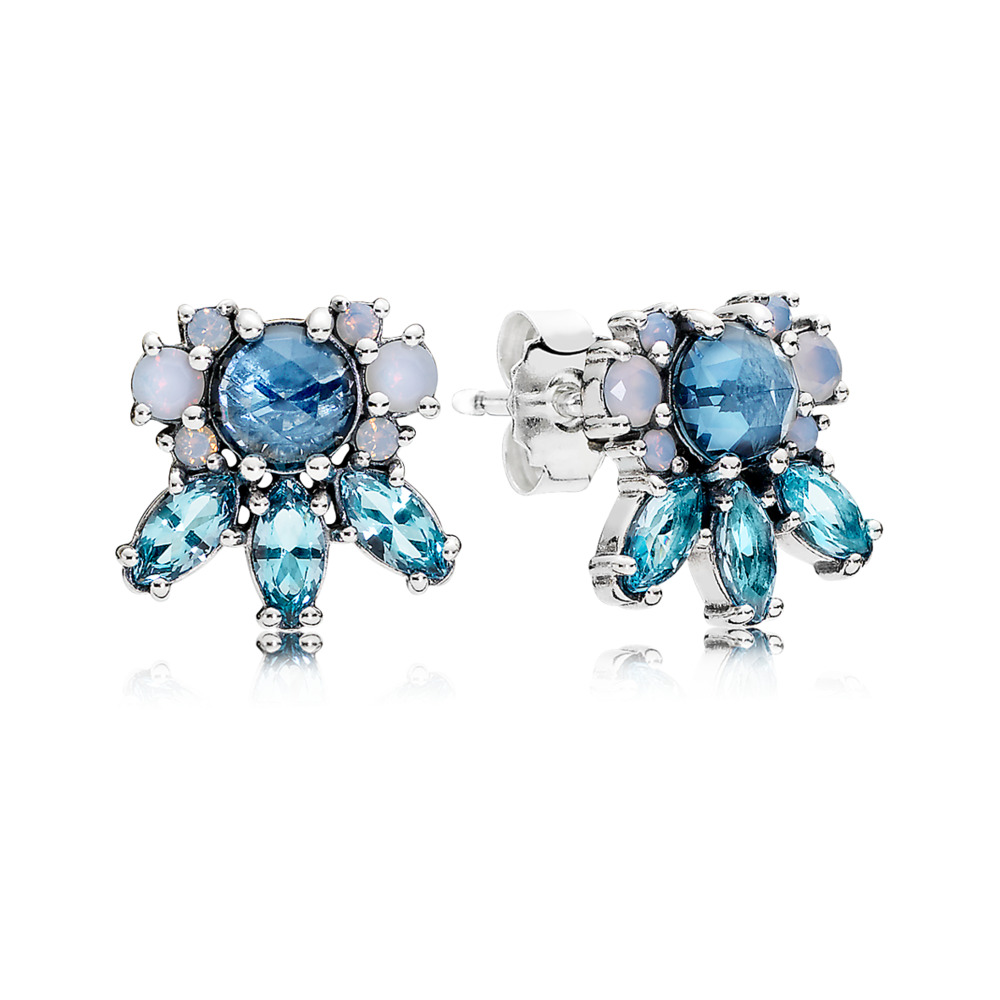 판도라 PANDORA Patterns of Frost Stud Earrings, Multi-Colored Crystal Sterling silver, Blue, Crystal