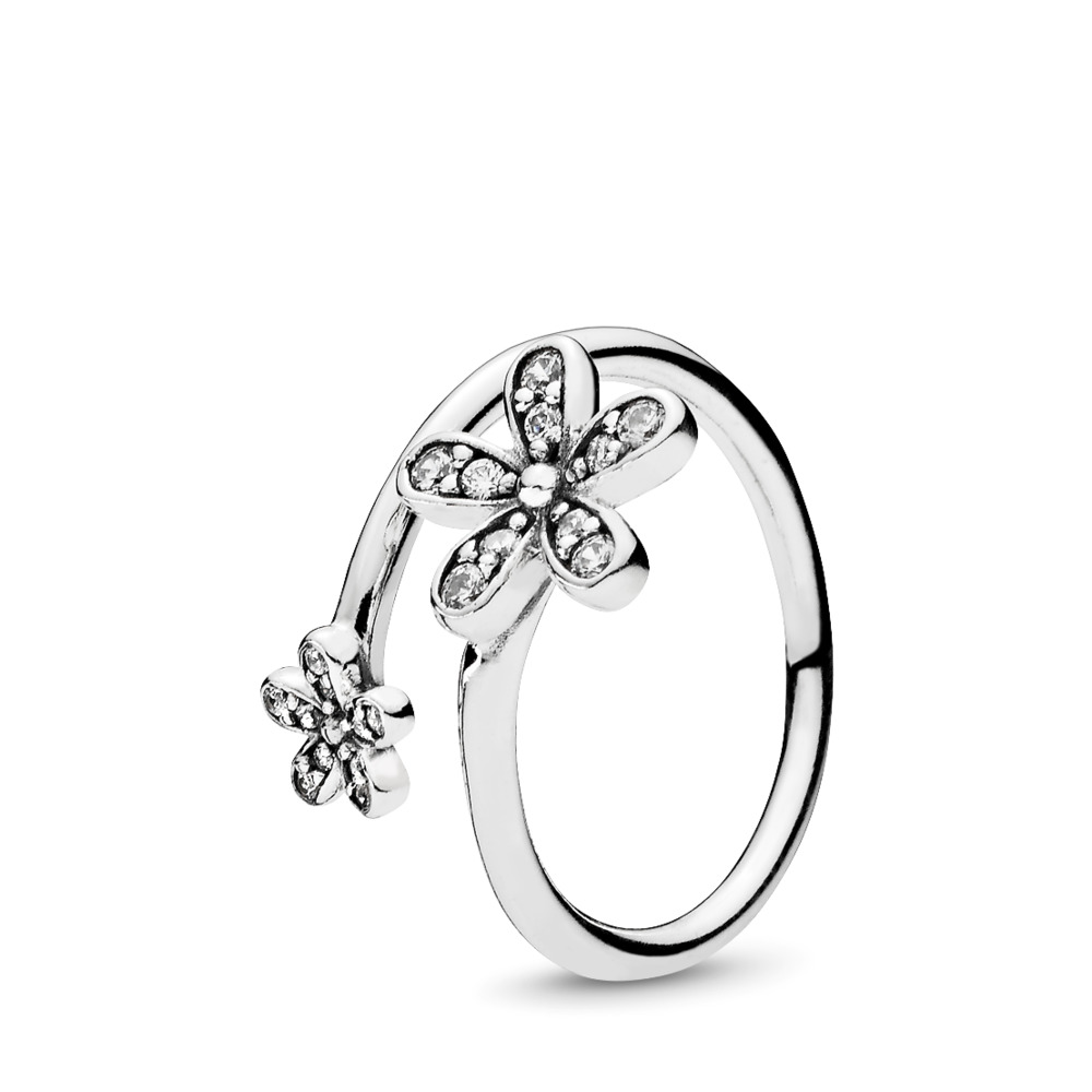 Dazzling Daisies Ring, Clear CZ, Sterling silver, Cubic Zirconia - PANDORA - #191038CZ