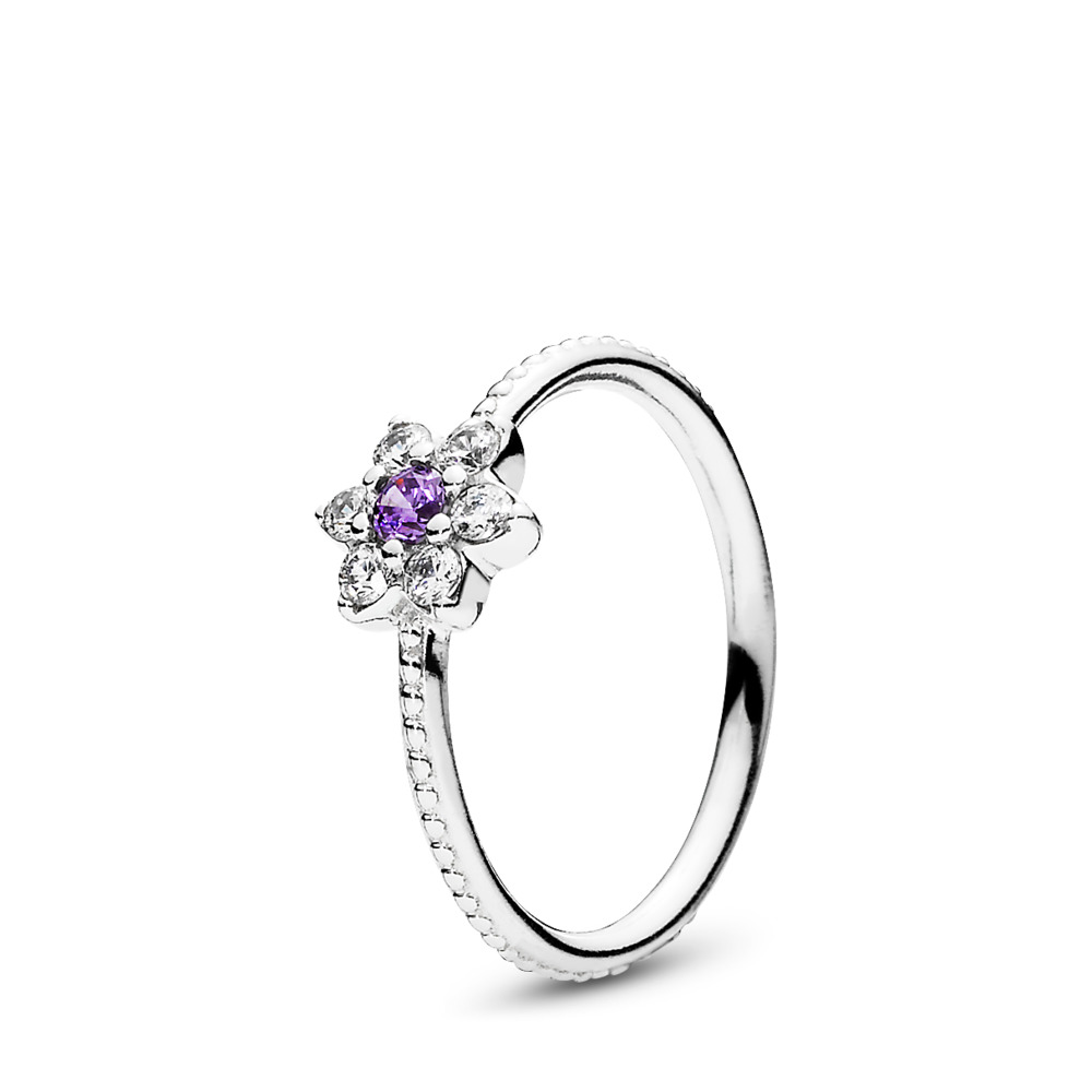 Forget Me Not Ring, Purple & Clear CZ, Sterling silver, Purple, Cubic Zirconia - PANDORA - #190990ACZ