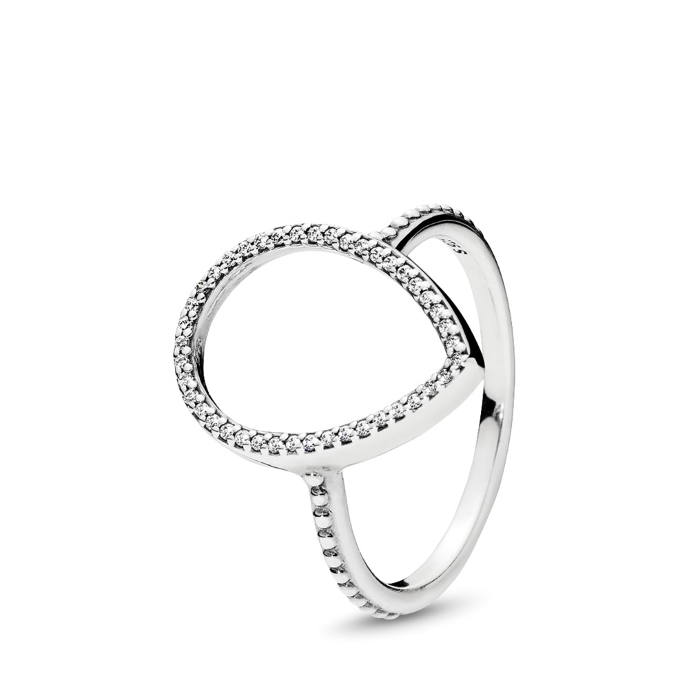 Teardrop Silhouette Ring, Clear CZ, Sterling silver, Cubic Zirconia - PANDORA - #196253CZ