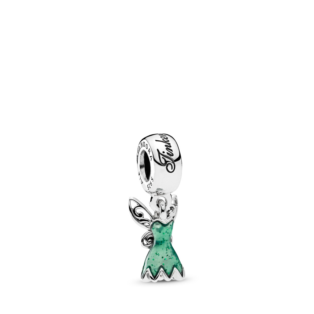 Disney, Tinker Bell's Dress Dangle Charm, Glittering Green Enamel, Sterling silver, Enamel, Green - PANDORA - #792138EN93