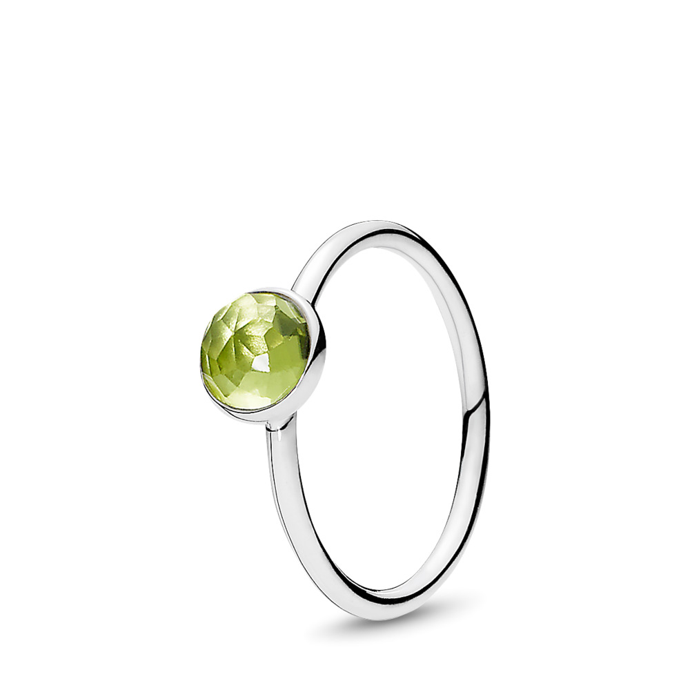August Droplet Ring, Peridot, Sterling silver, Green, Peridot - PANDORA - #191012PE
