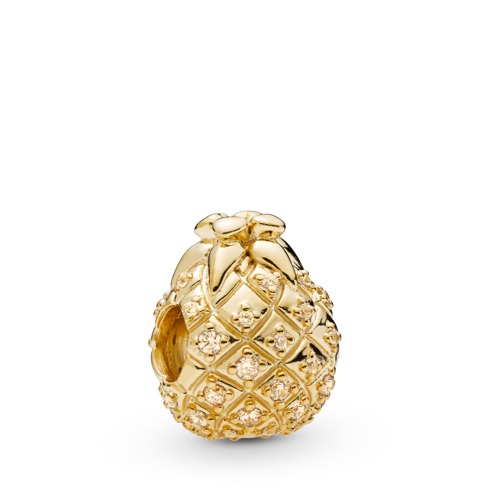 Golden Pineapple Charm, Pandora Shine™, 18ct Gold Plated, Gold, Cubic Zirconia - PANDORA - #767904CCZ
