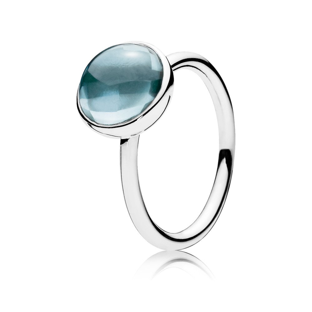 판도라 PANDORA Poetic Droplet Ring, Aqua Blue Crystal Sterling silver, Blue, Crystal