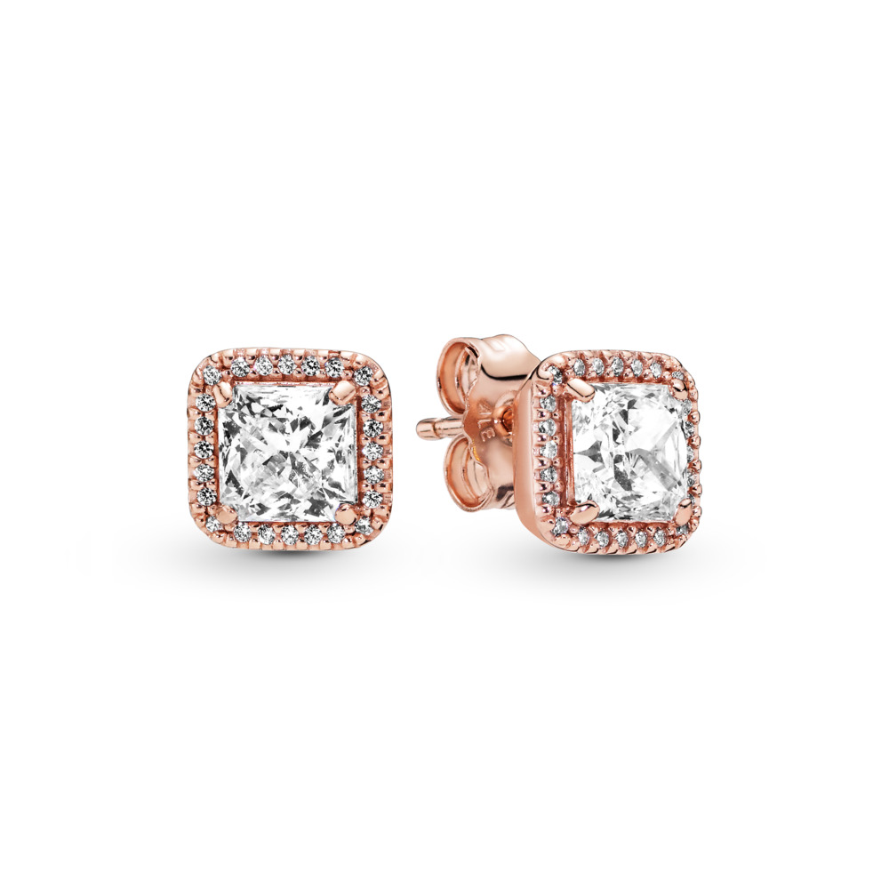 Timeless Elegance Stud Earrings, PANDORA Rose™ & Clear CZ, PANDORA Rose, Cubic Zirconia - PANDORA - #280591CZ
