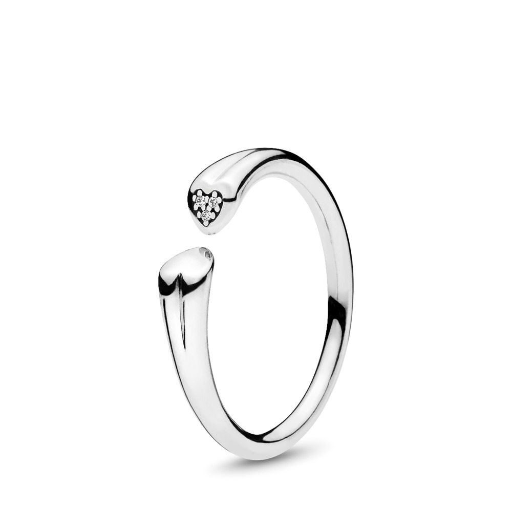 Two Hearts Ring, Clear CZ, Sterling silver, Cubic Zirconia - PANDORA - #196572CZ