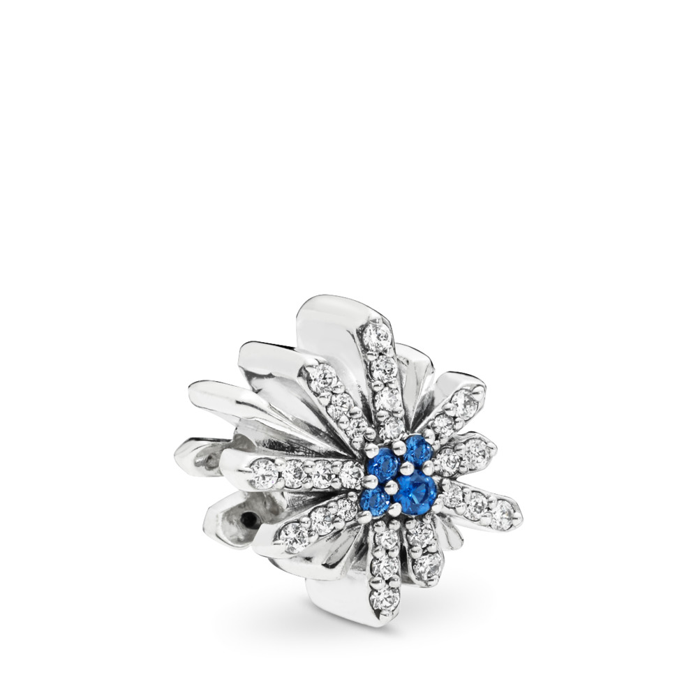 Dazzling Fireworks Charm, Clear CZ & Blue Crystal, Sterling silver, Blue, Mixed stones - PANDORA - #797518NCB