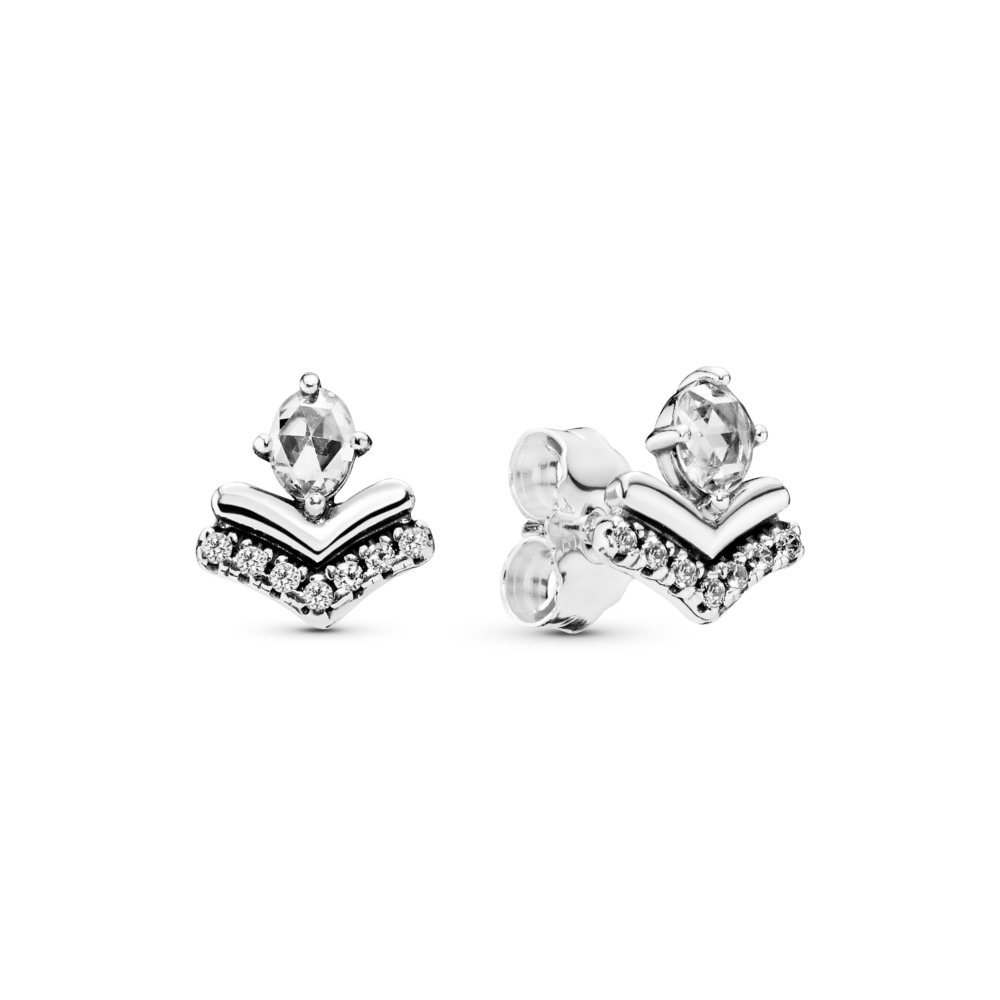 Classic Wishes Earrings, Clear CZ, Sterling silver, Cubic Zirconia - PANDORA - #297787CZ