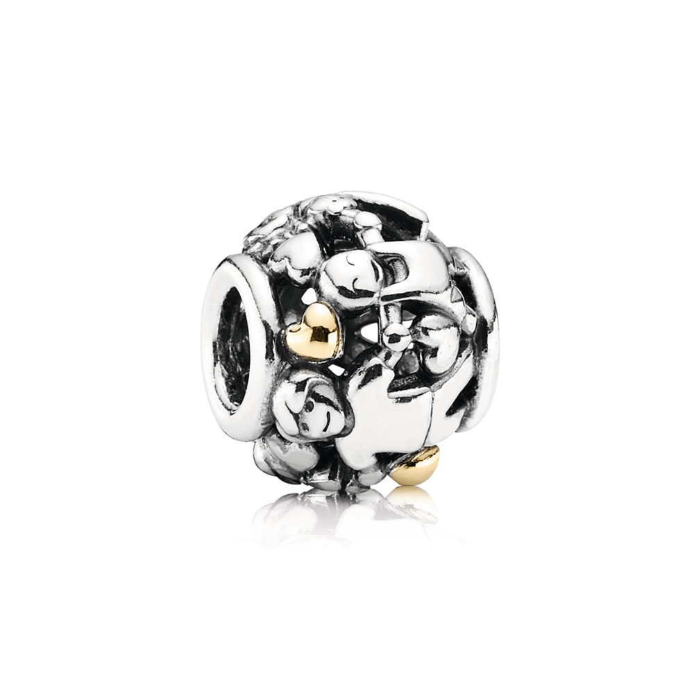 Family Forever Hearts Charm, Two Tone - PANDORA - #791040