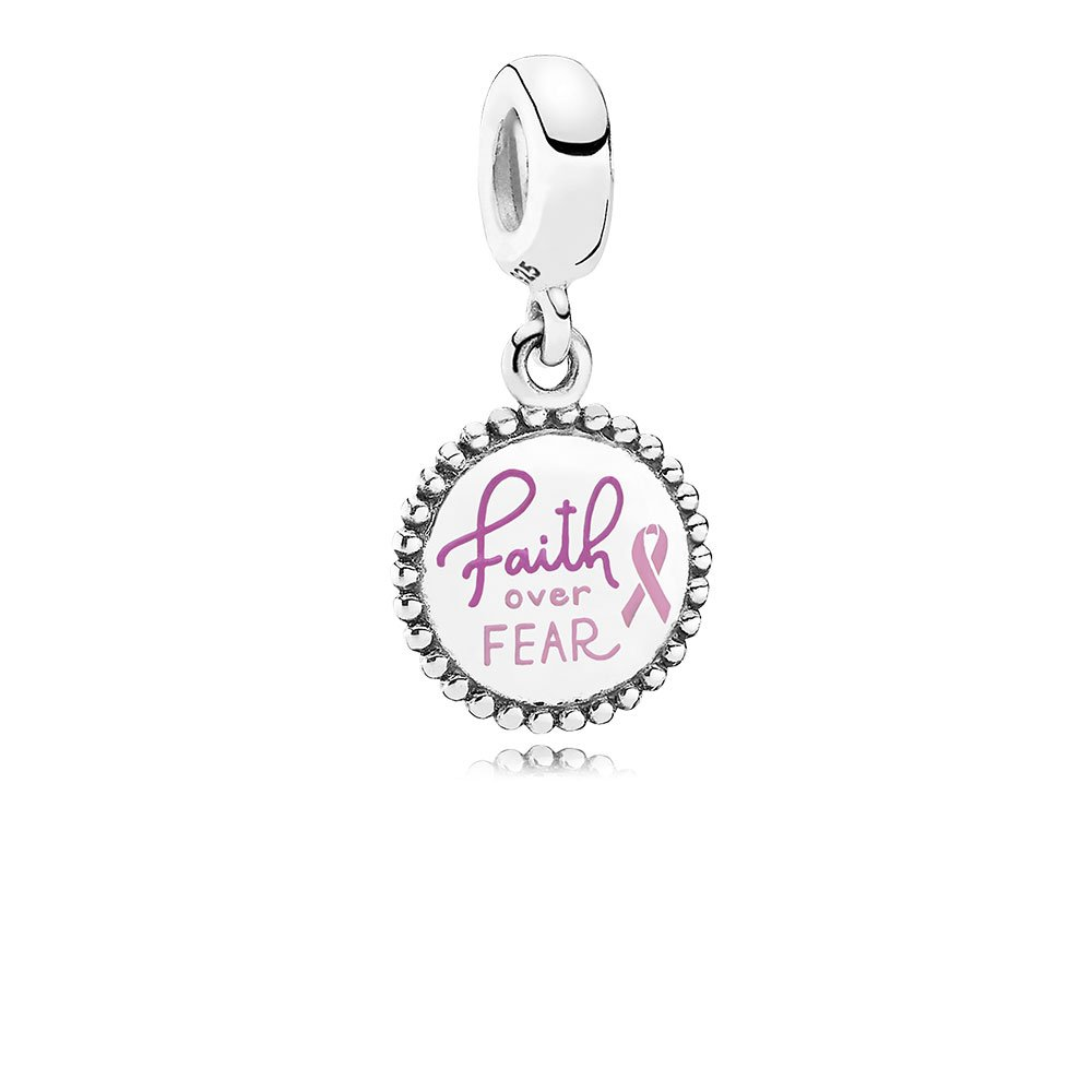 Faith Over Fear Dangle Charm, Pink Enamel, Sterling Silver, Enamel, Pink - PANDORA - #ENG791169_98