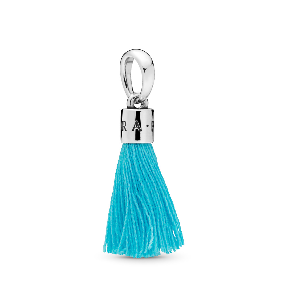 Turquoise Fabric Tassel Dangle Charm, Sterling silver, Textile/ synthetical fibers, Turquoise - PANDORA - #797212CTQ